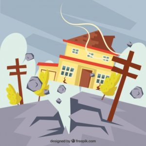 地震で揺れている家