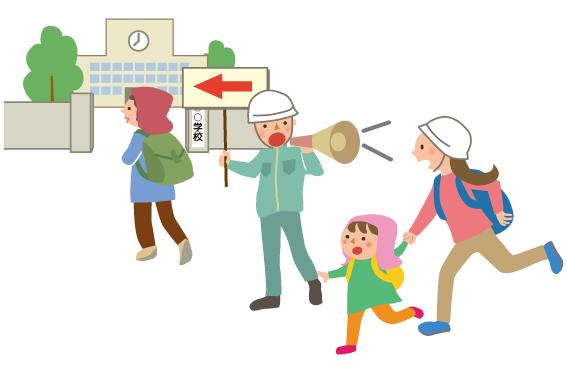 避難所に誘導する人と避難する人