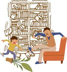 地震で揺れている本棚と親子