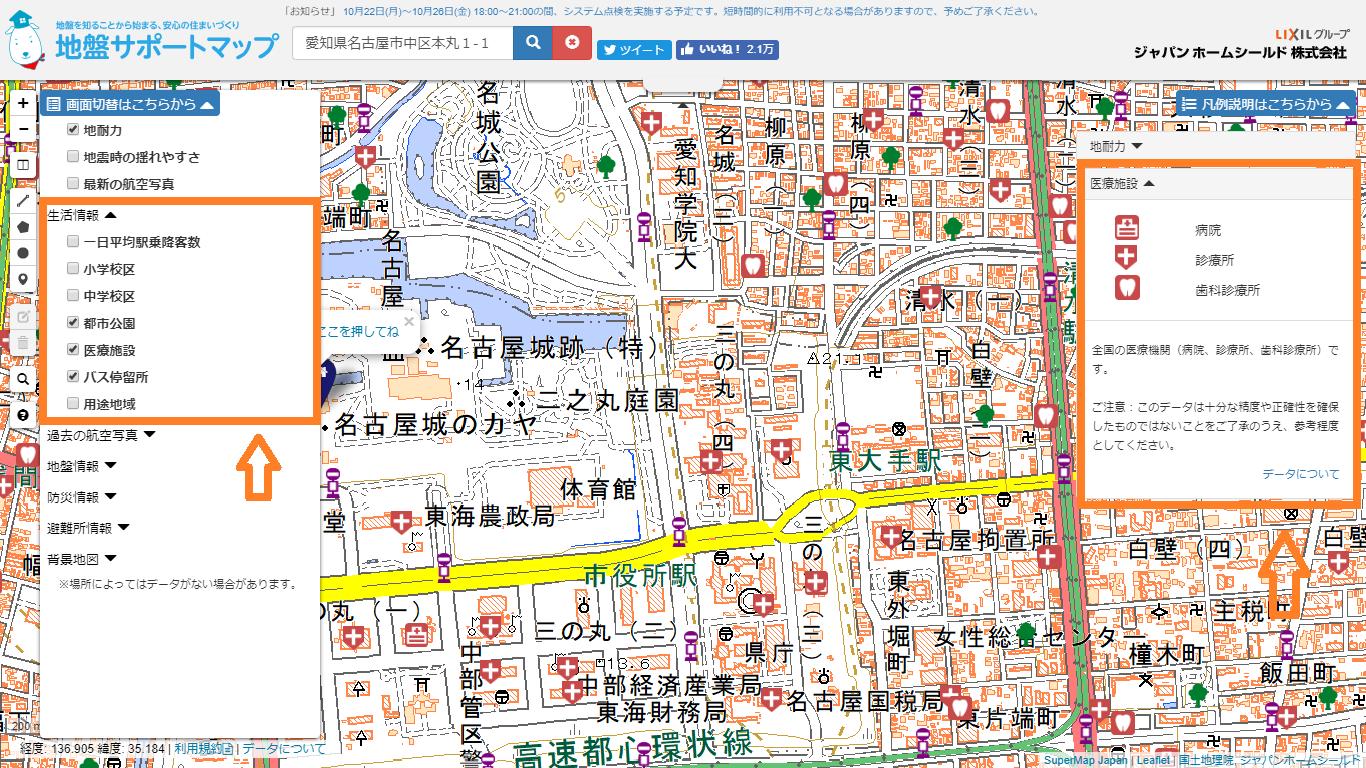 都市公園、医療施設、バス停留所
