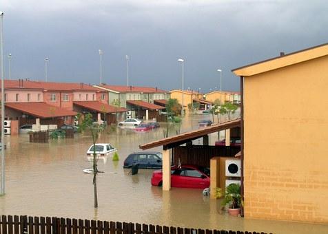 浸水下街並み