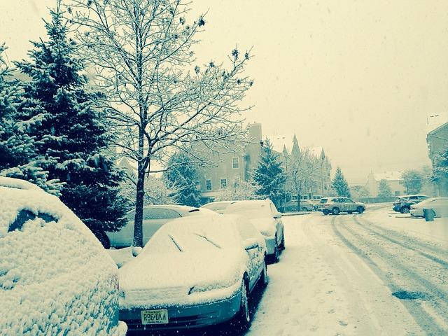 雪道雪の積もった車